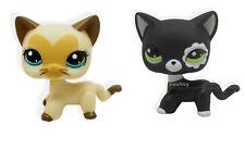 2pcs #3573 #2249 Littlest Pet Shop Cream Black Short Hair Cat Kitty Heart Face