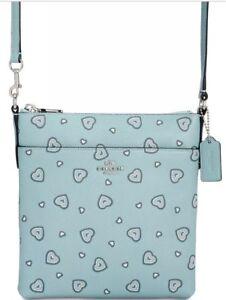New coach Heart Messenger Mini Crossbody Bag 29680 leather zip closure Turquoise