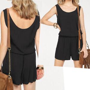 hübscher marken Sommer Overall Gr.34 XS schwarz Jumpsuit Playsuit Black Basic