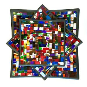 Mosaic Plates Hand Made Square Decorative Set of 3 Multi Color By Zenda Imports