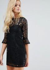 BNWT Lipsy Black Bell Sleeve Lace Dress in Size 12 UK - RRP £45