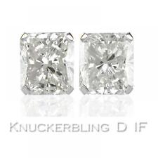 Diamond Solitaire Studs: 0.50ct Certified D IF Radiant Cut Diamonds in Platinum