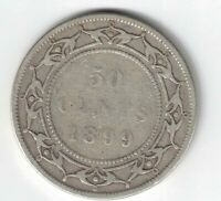 NEWFOUNDLAND 1899 N9 50 CENTS HALF DOLLAR VICTORIA STERLING SILVER CANADIAN COIN