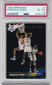 1992 Upper Deck Basketball Card #1 Shaquille O'Neal Rookie Orlando - PSA 6