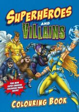 Superheroes and Villains Colouring Book BLUE Children's Super Hero Colouring UK