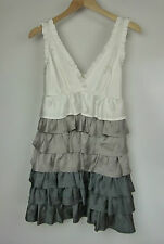 COOPER STREET Dress Sz 8 White, silver, bronze Tiered Party cocktail event