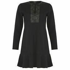 New Peplum Dress Long Sleeve Shift Black Flared Hem Thigh Length Midi Lace Up UK