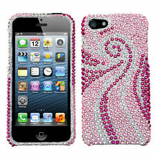 For Apple iPhone 5 5S SE Crystal Diamond BLING Hard Case Phone Cover Pink Tail