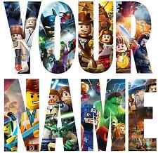 LEGO HEROES LETTER NAME STICKERS WALL DECO DECAL 4 SIZES PERSONALISED lot FC