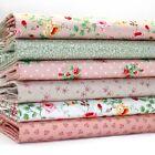 lote fat quarter Rosado Verde & Mink Floral x 6 Tela De Algodón Para Patchwork