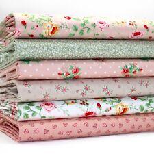 FQ Bundle - Blush Pink Green & Mink Floral x 6 - Cotton Fabric Patchwork Quiltin