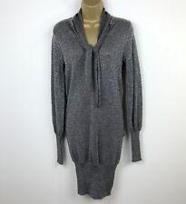 Extyn Italia Mini Dress Jumper Lurex UK Size 10 Silver Party Evening Valentines