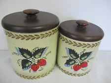 VINTAGE RANSBURG METAL CANISTERS (2) STRAWBERRIES WITH WOOD LIDS