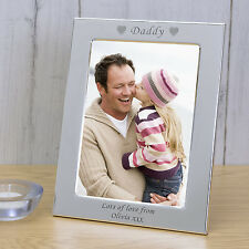 Personalised Silver Plated Photo Picture Frame Daddy Fathers Day Gift