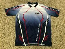 NICE Louis Garneau Blue White Red Zip Cycling Biking Jersey Shirt Men's Large