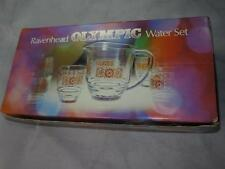 RETRO RAVENHEAD GLASS OLYMPIC Water or Lemonade Set Jug & 6 Glasses 1970s Boxed