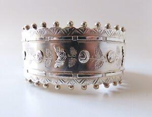 Antique Circa 1880 Victorian Engraved Silver Hinged Bangle Bracelet W Rose Motif