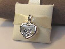 New w/Box Pandora Floating Heart Locket w/ Heart Charm Glass  #792111CZ Petite