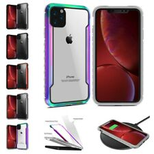 For iPhone 7/8 11 Pro Max Dual Aluminum Rubber Bumper Clear PC Back Case Cover