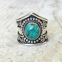 Vintage 925 Silver Turquoise Jewelry Women Wedding Party Engagement Ring Sz6-10