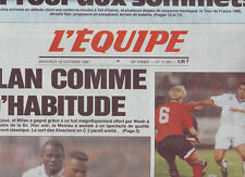 journal  l'equipe 18/10/95 FOOTBALL STRASBOURG MILAN AC AUXERRE NOTTINGHAM F