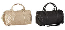 Gold Plaid quilted ladies shoulder carry on travel overnight weekender Gym bag