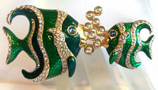 SWAROVSKI CRYSTAL SWAN GREEN ENAMEL&CRYSTAL TWO FISH BROOCH GORGEOUS Estate Jew