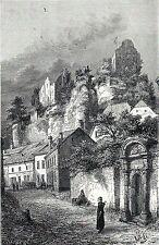Antique print gravure Fels Château de Larochette Castle Luxembourg 1882