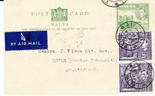 Malta postal card-HG:16 uprated SG#222a(x2)-AIR MAIL FE/27/47 to SWITZERLAND