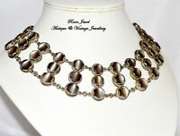 VINTAGE JEWELLERY SILVER NECKLACE MOTHER OF PEARL BEAUTIFUL QUALITY LARGE COLLAR