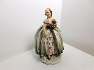 "Signed CAPODIMONTE Ceramic Porcelain Figurine Vintage Italy Handpainted 12""X 7"""