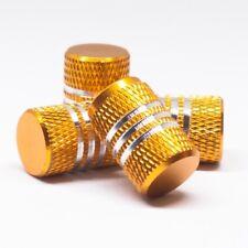 Fits All Vehicle 4pcs Tire Valve Cap w/Gold Chrome lines w/ Rubber Ring Rim
