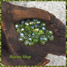 100 Perles de bohemía facetadas 6mm Checo colorido Olivine ab