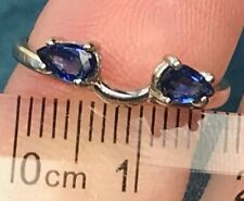 10k White Gold 0.50 TCW Pear-Cut Blue Sapphire Ring Guard Enhancer Jacket--K8L7J