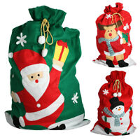 Christmas Stocking Santa Snowman Gift Holder Bag Kids Xmas Sack Decoration Post