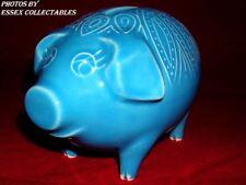 Surrey Cerámica década de 1970 Vintage Alcancía Cerdo Esmaltado dinero caja azul pálido