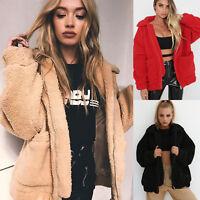 Women Winter Teddy Bear Pocket Zipper Fluffy Fleece Fur Jacket Coat Outerwear