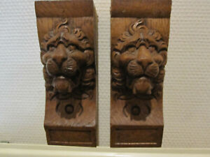 ANTIQUES WOODEN CARVED PAIR OFF LIONHEADS