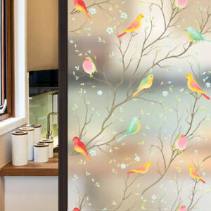 Glass Window Sticker Cling Privacy Decor New Stained Bird Frosted Film Static