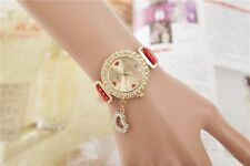 Jewerly Leather Fashion Bling Crystal Women Lady Girl Analog Quartz Watch Gift