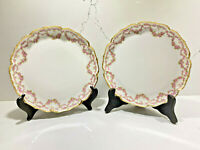 Set of 2 Antique GDA Limoges France Porcelain Plates Floral Gold Trim 8""