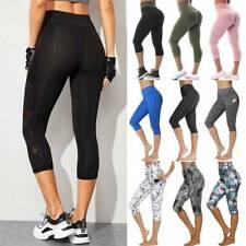 Womens Capri Yoga Pants Plus Leggings High Waist Fitness Gym Workout Trousers A