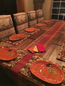 "RUSTIC RANCH dining table, 10 FEET LONG BY 54"" WIDE with 10 fabric chairs"