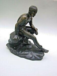AntiqueThe Seated Hermes Cast Bronze on Bronze Plinth Greek God Statue Sculpture