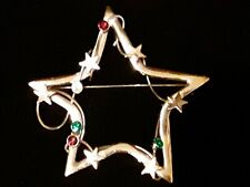 Silver Star Red Green Stone Holiday Pin Brooch