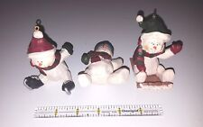 Lot of 3 SNOWMAN resin Christmas ornaments
