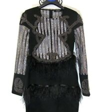 Brand New Women black sequin beaded dress gold/silver  feathers