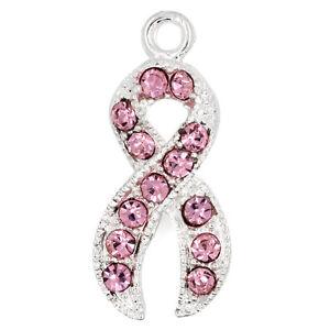 5 SILVER PINK RHINESTONE BREAST CANCER AWARENESS RIBBON CHARM PENDANT (50F)