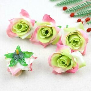 Fake Rose Artificial Silk Flower Heads Craft Wedding Decor 20-100X(Green pink)