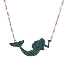 Lux Accessories Rose Gold Chain Patina Mermaid Necklace